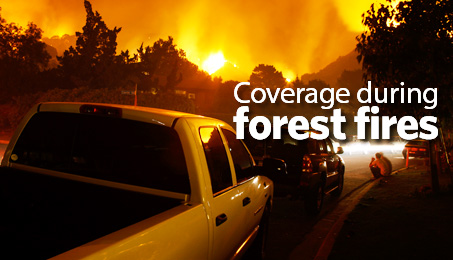 Coverage during forest fires.